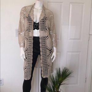 VINCENTE Filigree/Crocheted Open-Front Cardigan